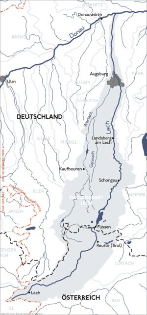 Lech (river) - Drainage basin of the Lech