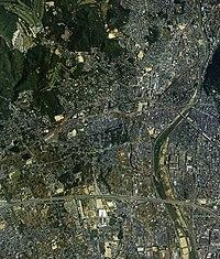 Kawanishi city center area Aerial photograph.1985.jpg