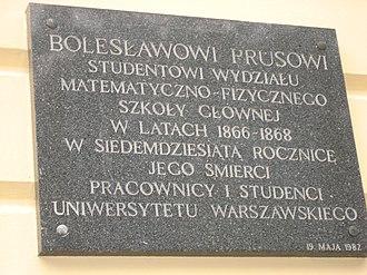 Kazimierz Palace - Plaque on Warsaw University's Kazimierz Palace, commemorating 1866–68 student Bolesław Prus