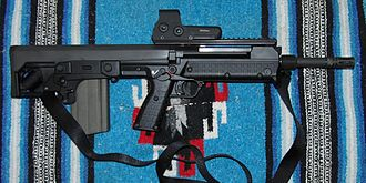 Kel-Tec RFB - The RFB Carbine model with EOTech 512 Holographic weapon sight attached.