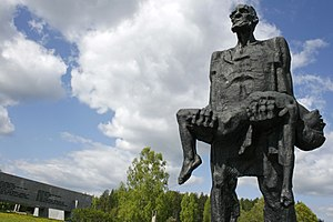 Khatyn massacre - The Unbowed Man by Sergei Selikhanov at the Khatyn Memorial site. The sculpture depicts Yuzif Kaminsky, the only adult to survive the massacre, holding his dead son Adam.