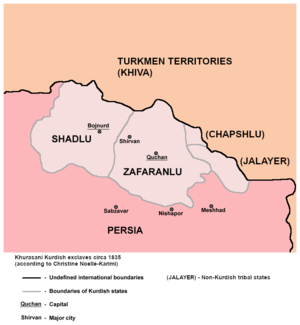 Kurds of Khorasan - Zafaranlu and Shadlu autonomous states in Khurasani Kurdish exclave circa 1835.
