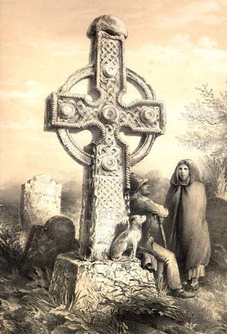 Ahenny - The Kilclispeen cross: an illustration from the 1857 book Illustrations of Some of the Most Interesting Sculptured Crosses of Ancient Ireland