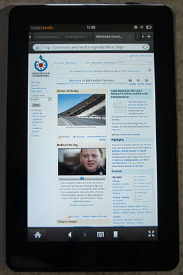 Kindle Fire laat Wikimedia Commons zien