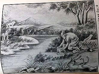 Bharata (Mahabharata) - King Bharata saving a just born deer cub from the banks of a river