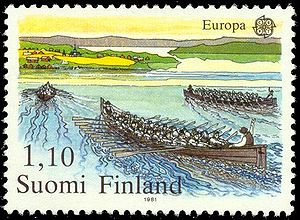 History of rowing sports - Rowing stamp from Finland.