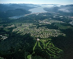 Aerial photo of Kitimat residential area with Douglas Channel in the background.