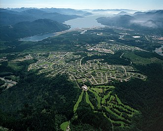 Kitimat - Aerial photo of Kitimat residential area with Douglas Channel in the background.