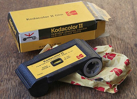 Kodacolor II 126 film cartridge, expiring date 1980 Kodacolor II film C 126-20 126 film cartridge (1).jpg
