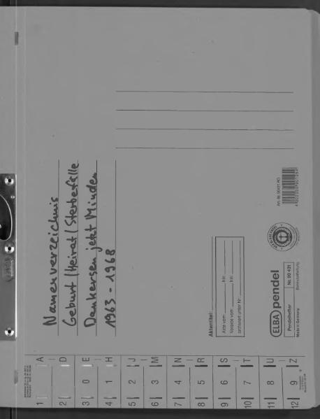 File:Kombiniertes Namensverzeichnis zu den Geburts-, Heirats- und Sterberegistern des Standesamtes Dankersen, 1963 bis 1968.djvu