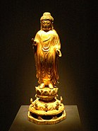 Korea-United Silla-Gilt bronze standing Buddha-02