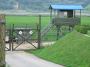 A South Korean checkpoint in the Korean Demili...