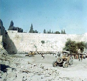 "Moroccan Quarter - Clearing the plaza in front of the ""Wailing Wall"", July 1967"