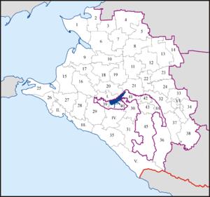 Фанагория на карте Краснодарского края РФ.
