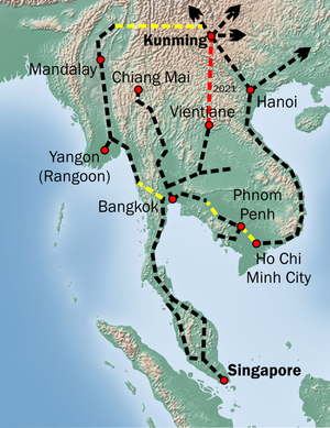 Kunming–Singapore railway - Overview of the missing links (in yellow) the Kunming-Singapore Railway.
