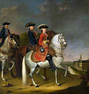 Ernest Augustus II, Duke of Saxe-Weimar-Eisenach - Duke Ernest Augustus II Constantine on horseback by Johann Friedrich Löber, ca. 1756, National Museum in Warsaw. The young duke was depicted accompanied by his chancellor Heinrich von Bünau before his main residence - Weimar City Castle.