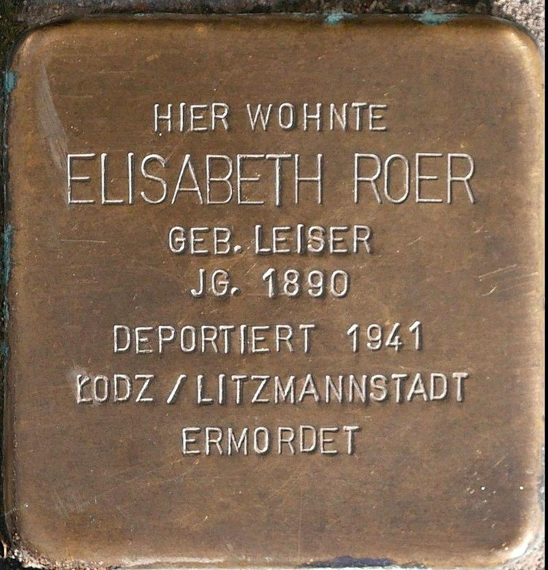 Stolperstein für Elisabeth Roer