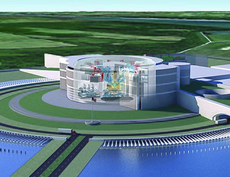 Laser Inertial Fusion Energy - Rendering of the LIFE.1 fusion power plant. The fusion system is in the large cylindrical containment building in the center.