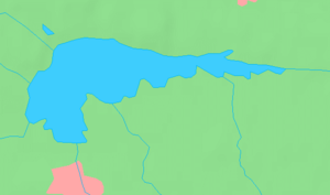 Die Karte zeigt Form und Lage des Roxen nördlich von Linköping
