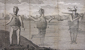 Jean-Baptiste de La Chapelle - Engraving showing the diving suit conceived by La Chapelle.