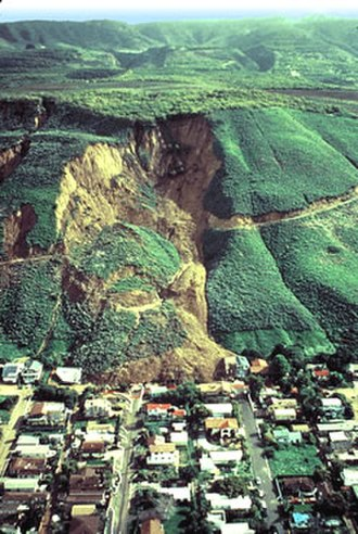 Geologic hazards - Huge landslide at La Conchita, 1995