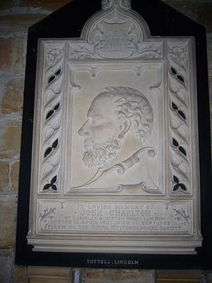 Lambley, Northumberland - Memorial plaque to John Charlton in Lambley church