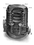 a cutaway diagram of a lamneck central heating gas furnace