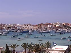 View of the town of Lampedusa from the harbor