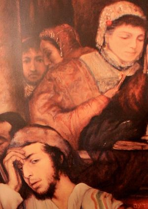 Laura Henschel-Rosenfeld - Detail of Jews Praying in the Synagogue on Yom Kippur showing Laura and Maurycy