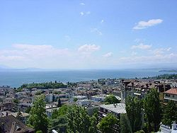 Majestic view on the Lake of Geneva and the French Alps