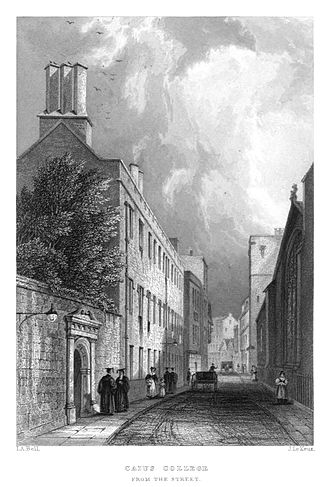 John Le Keux - John Le Keux, engraved view of Gonville and Caius College, Cambridge from the street, after Jonathan Anderson Bell