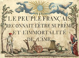 "Cult of the Supreme Being - ""The French people recognize the Supreme Being and the immortality of the soul"" (printed in 1794)"