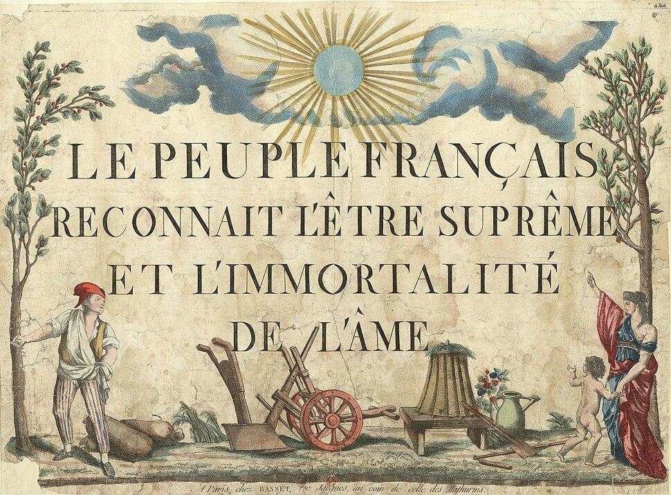 Le peuple français reconnaît l'être suprême