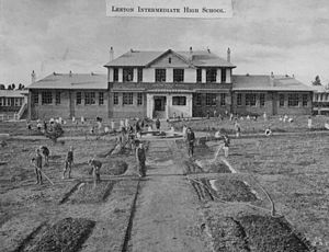 """Leeton High School - Taken 12 October 1927 showing the """"Old building"""" opened by Hon H.D. Hutch M.L.A. Minister for education"""