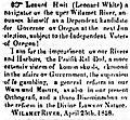 Leonard White candidate ad 1858.jpg