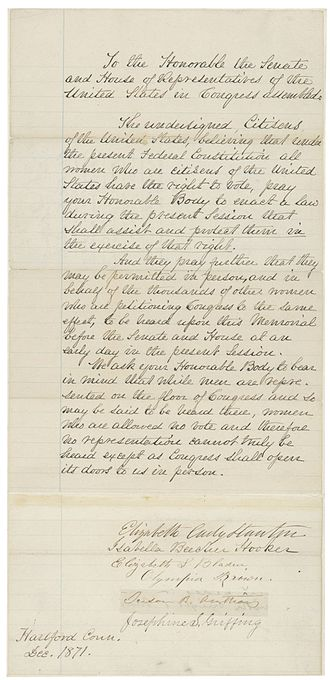 Susan B. Anthony - Letter by Susan B. Anthony to US Congress in favor of Women's Suffrage