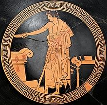 Una libagione simposiaca in una pittura vascolare attica a figure rosse da Vulci (480 a.C.). Museo del Louvre