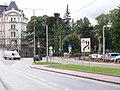 Liberec, Zámecké náměstí, Palachova - Rumunská, vyústění tramvajové tratě.jpg
