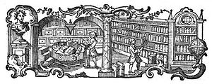 Picture of a library (?; of a learned society?...