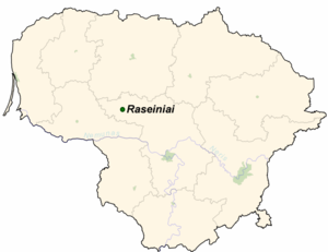 Battle of Raseiniai - Location map of Lithuania showing Raseiniai