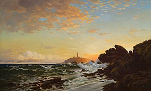 Lighthouse at Sunset by Francis Augustus Silva.jpg