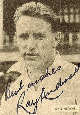 Ray Lindwall - A signed sports card of Lindwall.