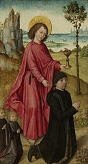 Inner left wing of a triptych with the donor, his two sons and St John the Evangelist