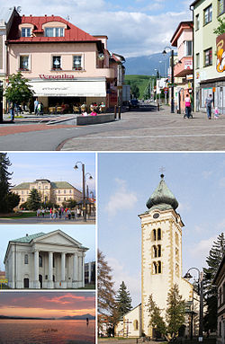 Pictures from the top clockwise: - Pedestrian zone and the market square - Gothic church of St. Nicolaus - Sunset by the Liptovská Mara lake - Synagogue in Liptovský Mikuláš - Town hall in the city center