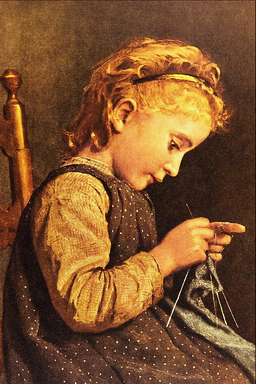 Little Girl Knitting - Albert Anker