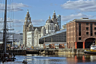 Liverpool city centre - The buildings of Pier Head from the Albert Dock