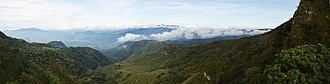 Kipengere Range - Panorama of the Kipengere Range and its forests taken from the edge of the Kitulo Plateau looking west.