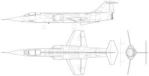 Orthographically projected diagram of the F-104 Starfighter.
