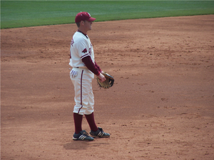 Logan Forsythe - Forsythe playing third base for the Diamond Hogs in Baum Stadium in 2007.