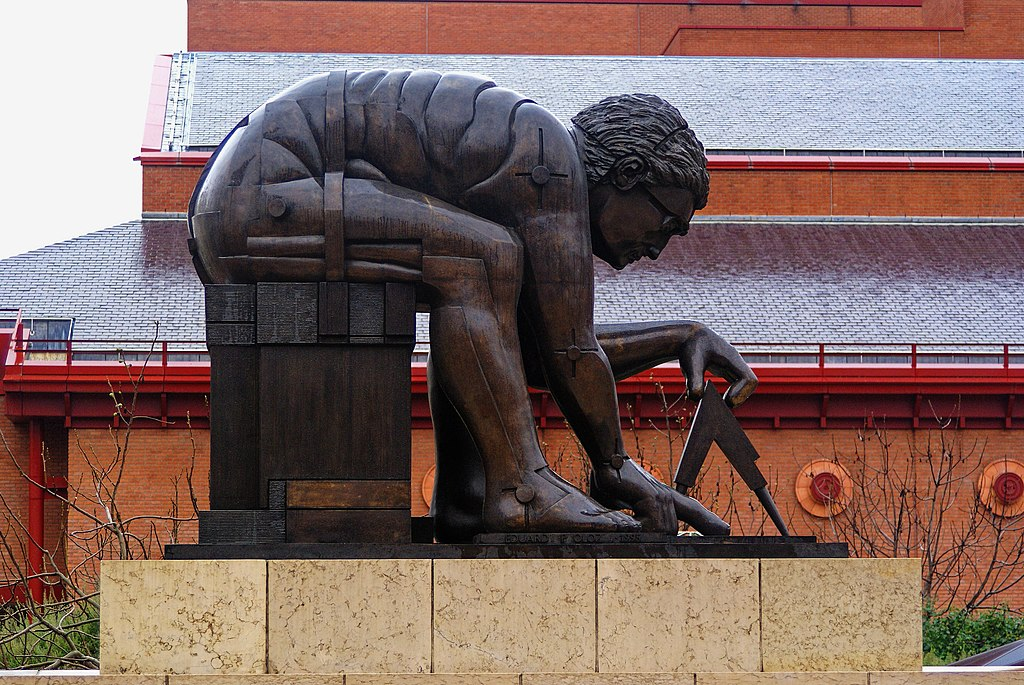 London - British Library - Statue by Eduardo Paolozzi 1995 'Newton after William Blake'